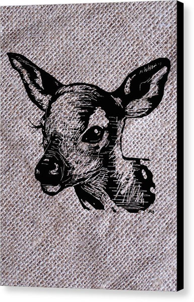 Deer On Burlap - Canvas Print