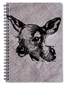 Deer On Burlap - Spiral Notebook