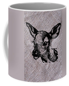 Deer On Burlap - Mug