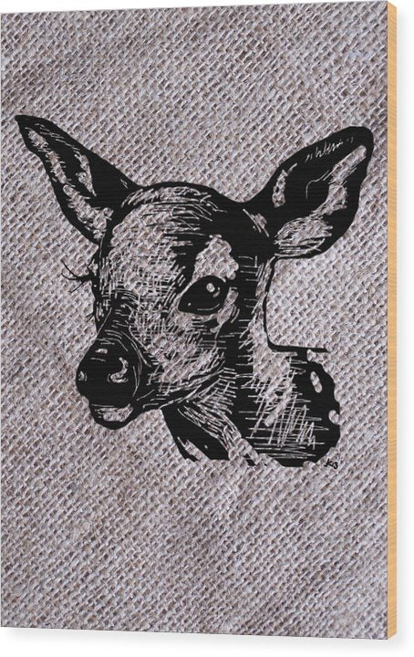 Deer On Burlap - Wood Print