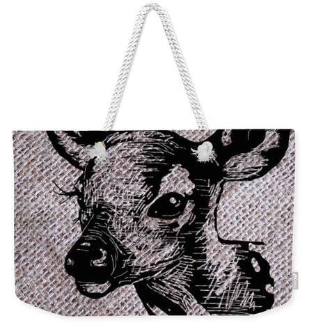 Deer On Burlap - Weekender Tote Bag