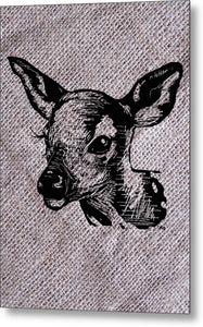 Deer On Burlap - Metal Print