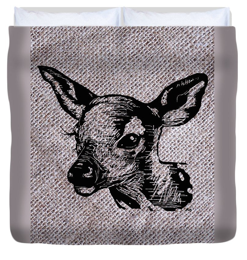Deer On Burlap - Duvet Cover