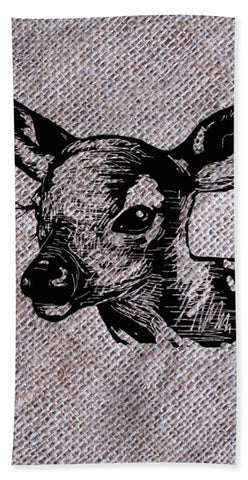 Deer On Burlap - Beach Towel