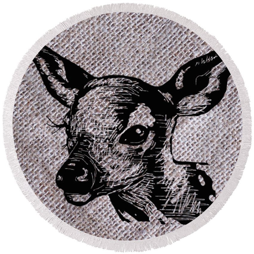 Deer On Burlap - Round Beach Towel