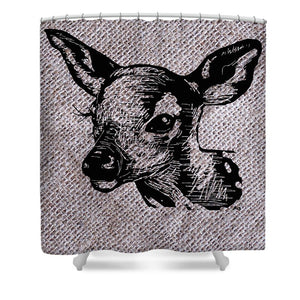 Deer On Burlap - Shower Curtain