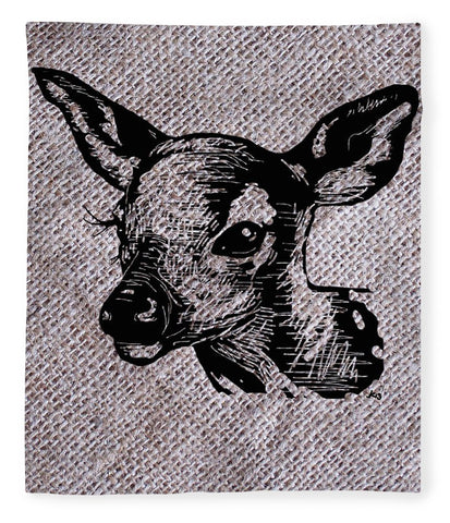 Deer On Burlap - Blanket
