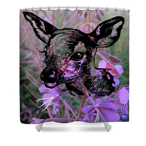 Deer On Flower - Shower Curtain