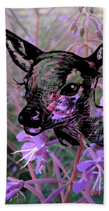 Deer On Flower - Bath Towel