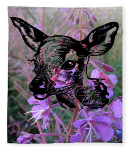 Deer On Flower - Blanket