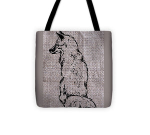 Fox On Burlap  - Tote Bag