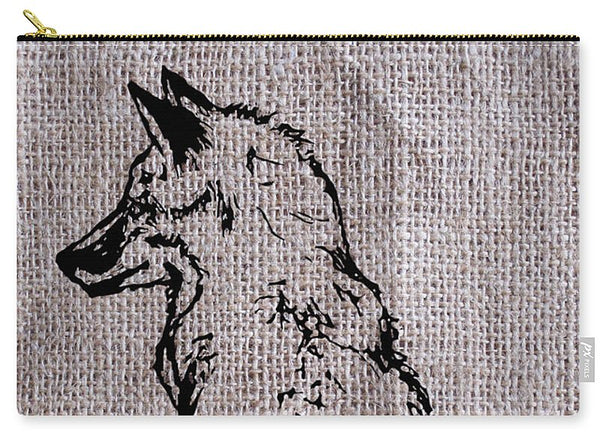 Fox On Burlap  - Carry-All Pouch