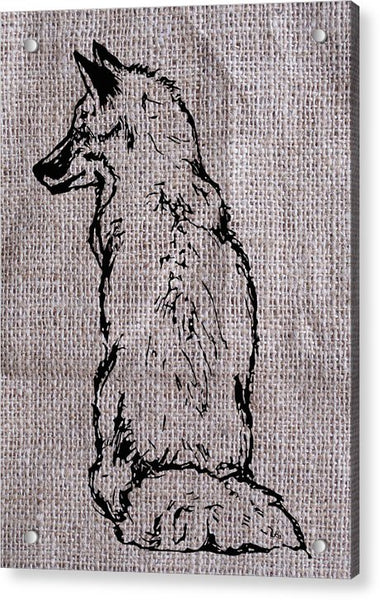 Fox On Burlap  - Acrylic Print
