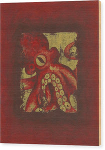 Giant Red Octopus - Wood Print