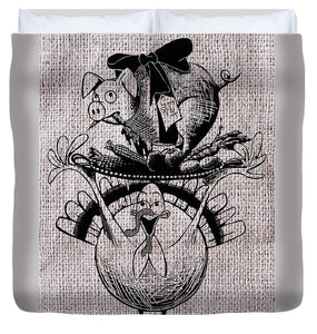 Happy Thanksgiving - Natural - Duvet Cover