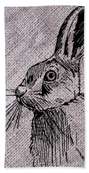 Hare On Burlap - Beach Towel