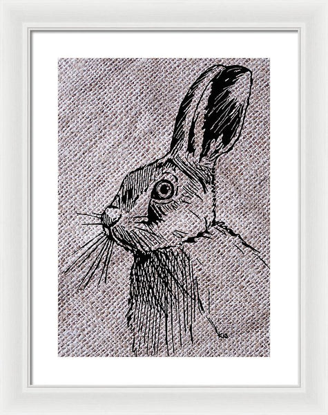 Hare On Burlap - Framed Print
