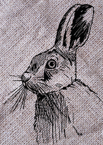 Hare On Burlap - Art Print