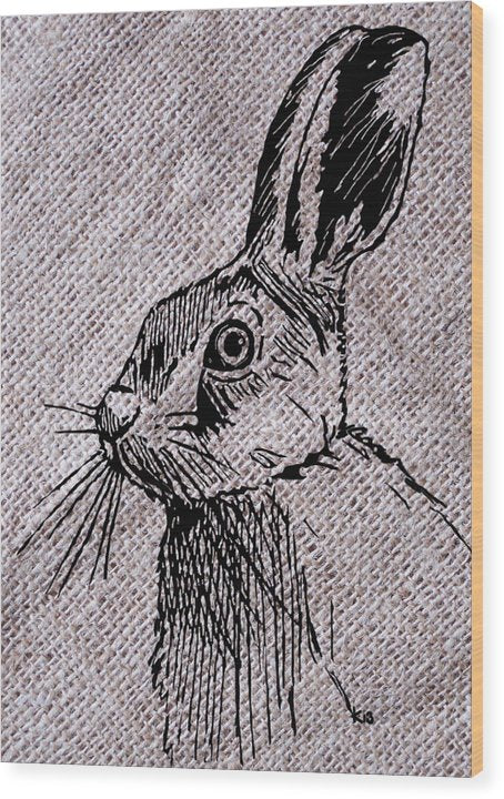 Hare On Burlap - Wood Print