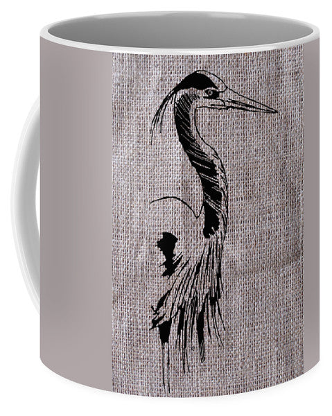Heron On Burlap - Mug