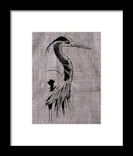 Heron On Burlap - Framed Print