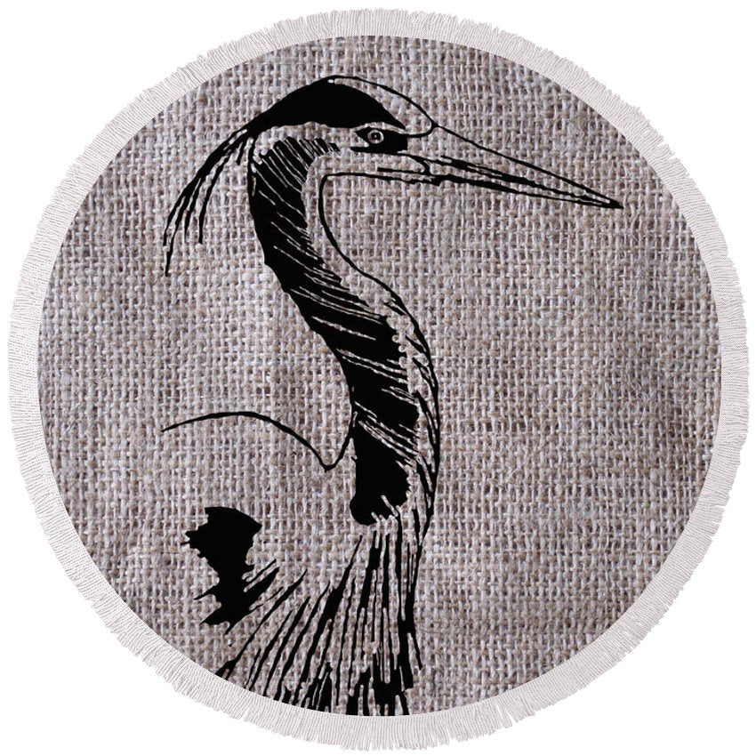 Heron On Burlap - Round Beach Towel