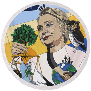 In Honor Of Hillary Clinton - Round Beach Towel