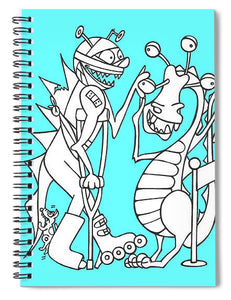 Monster Queue Blue - Spiral Notebook