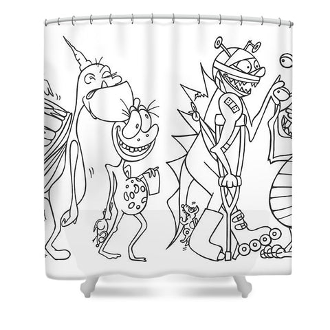 Monster  Queue - Shower Curtain