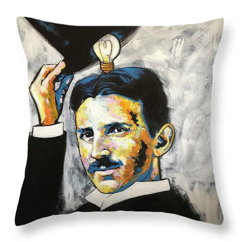 Nikola Tesla - Throw Pillow