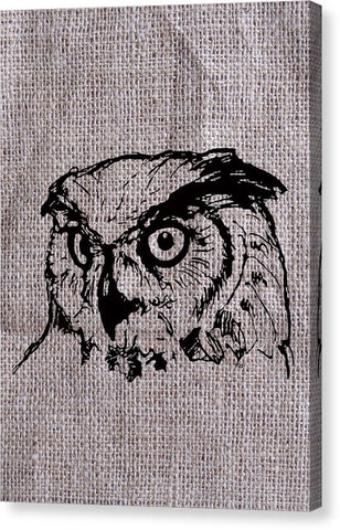 Owl On Burlap - Canvas Print