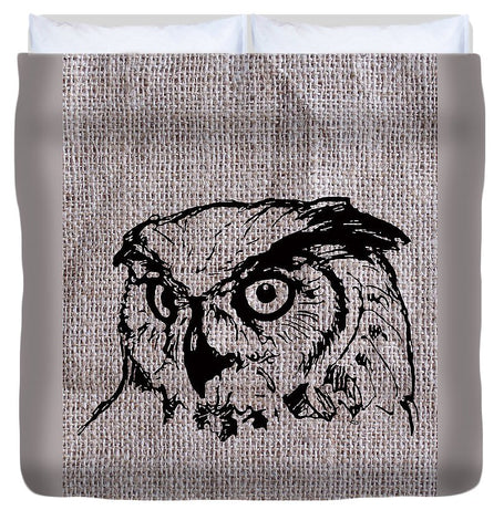 Owl On Burlap - Duvet Cover