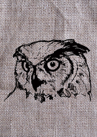 Owl On Burlap - Art Print