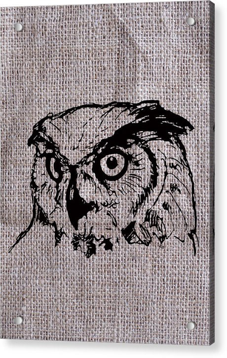 Owl On Burlap - Acrylic Print