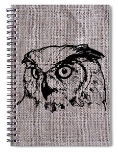 Owl On Burlap - Spiral Notebook