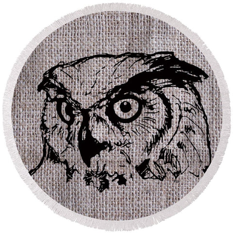 Owl On Burlap - Round Beach Towel