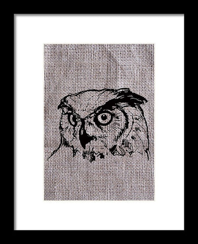Owl On Burlap - Framed Print