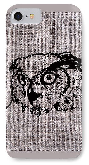 Owl On Burlap - Phone Case