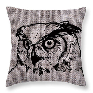 Owl On Burlap - Throw Pillow