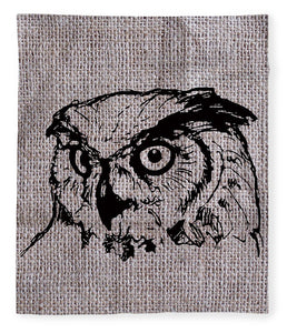 Owl On Burlap - Blanket