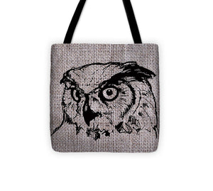 Owl On Burlap - Tote Bag