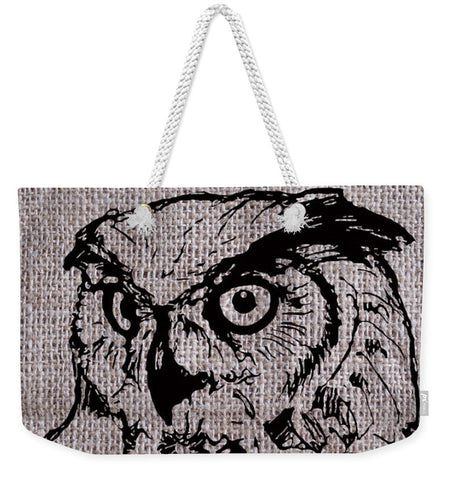 Owl On Burlap - Weekender Tote Bag