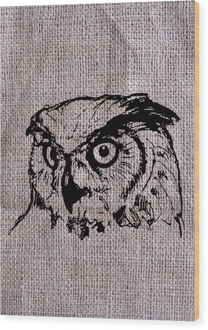 Owl On Burlap - Wood Print