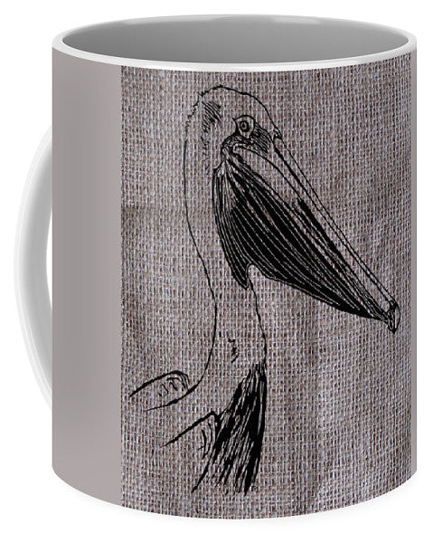 Pelican On Burlap - Mug