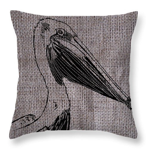 Pelican On Burlap - Throw Pillow