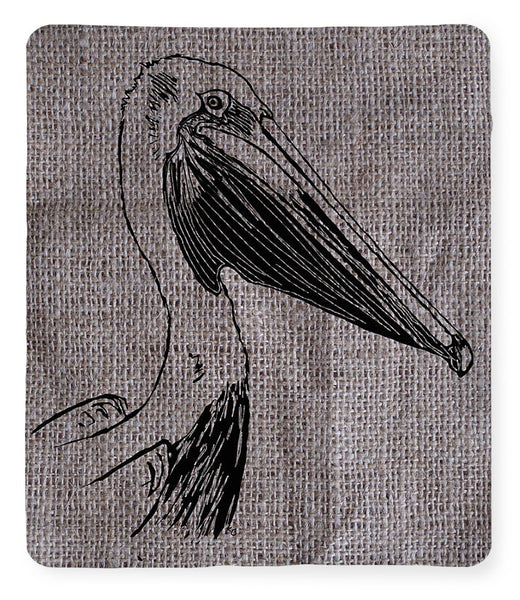 Pelican On Burlap - Blanket