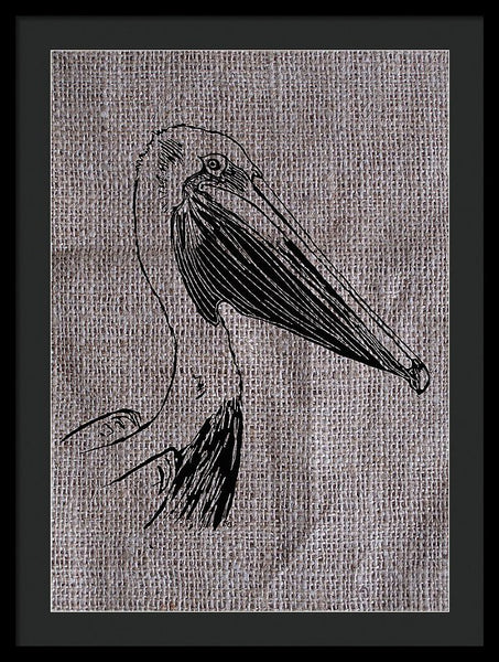 Pelican On Burlap - Framed Print