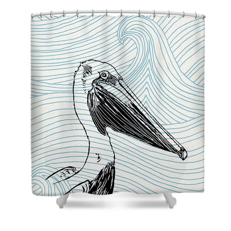 Pelican On Waves - Shower Curtain