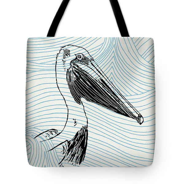 Pelican On Waves - Tote Bag