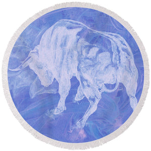 Purple Bull Negative - Round Beach Towel